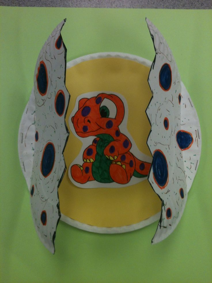 Hatching dinosaur egg craft made with paper plates
