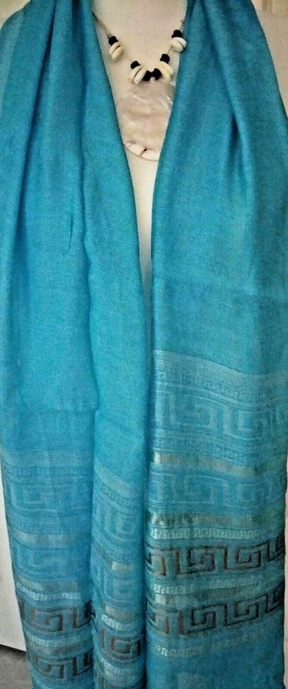 SILK SCARF , COVER UP, WRAP ,BLUE an SILVER New