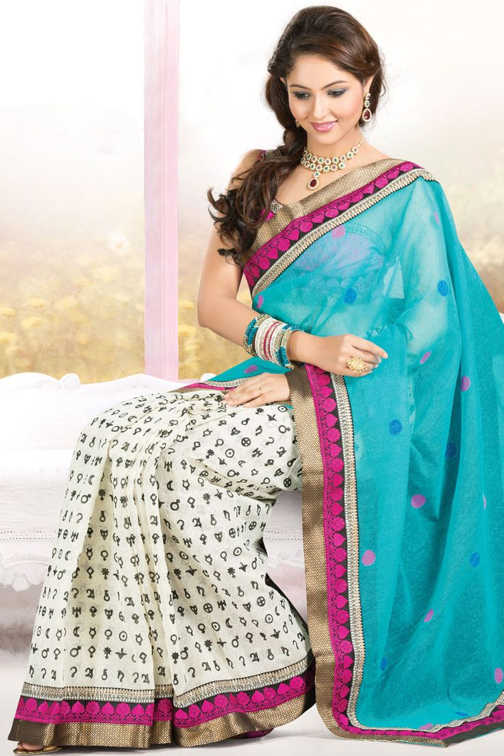 Robin-egg Blue and Off-white Jute Patola Embroidered Party and Festival Saree