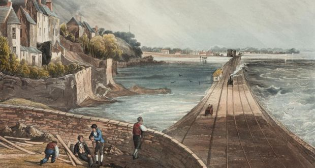Rock of the bay: a Dublin and Kingstown locomotive approaches Blackrock, in Co Dublin, in 1834; Dargan's stonework survives on the line. Image: SSPL/Getty