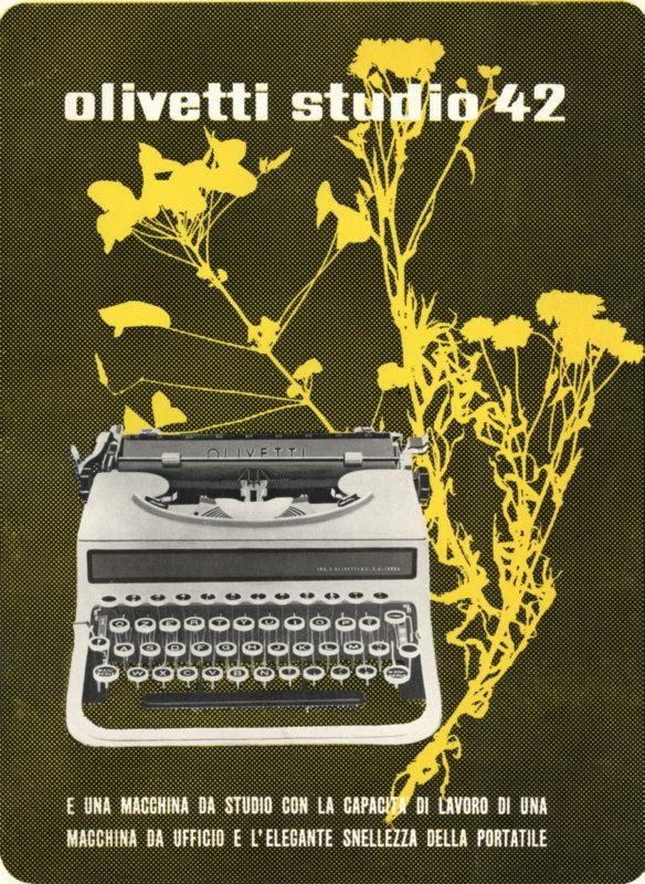 Locandina pubblicitaria disegnata nel 1938 da Giovanni Pintori, graphic designer, per la macchina per scrivere portatile Studio 42, progettata da Ottavio Luzzati e presentata nel 1935.