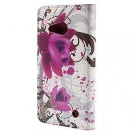 Lumia 550 violetit kukat puhelinlompakko.