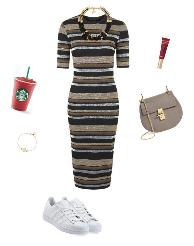 """<3"" by ercyveli ❤ liked on Polyvore featuring Topshop, adidas Originals, Chloé, Too Faced Cosmetics, Marc by Marc Jacobs, John & Pearl, dress, starbucks, adidas and topshop"
