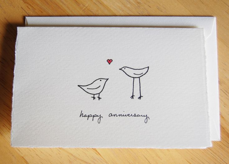 Cute Anniversary Card Simple Love Birds By