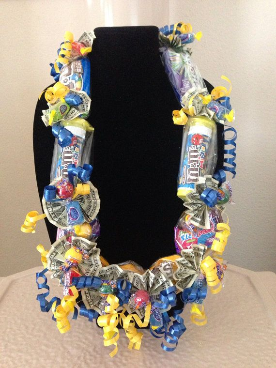 This is a handmade candy lei. Each lei is made at the time of order and I will be happy to use special colors or products. The full size candy I have in stock for the leis is Skittles (several varieties), Wonka Shockers, M & Ms (Peanut, Plain, Pretzel, Peanut Butter & Minis) For the outside of the lei, I use laffy taffy, jaw breakers, jolly ranchers, and chewy sweet tarts. I prefer not to use chocolate due to the potential heat exposure during shipping, although if the order is being ...