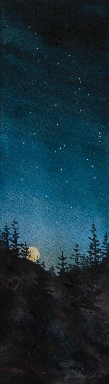 Constellations, Watercolor Print, Night Sky, Baby Nursery, Orion, Moon Rising…