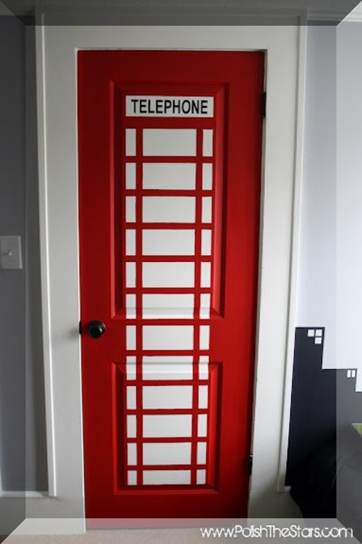 Phone booth closet door - leads to superhero changing room of course. And Gotham city painted skyline headboard idea  - - enjoy it