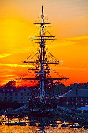 Sunset in USS Constitution, Massachusetts, Boston