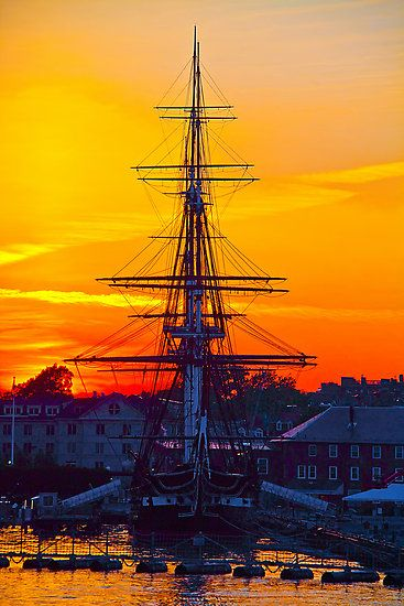 Sunset in USS Constitution, Massachusetts, Boston