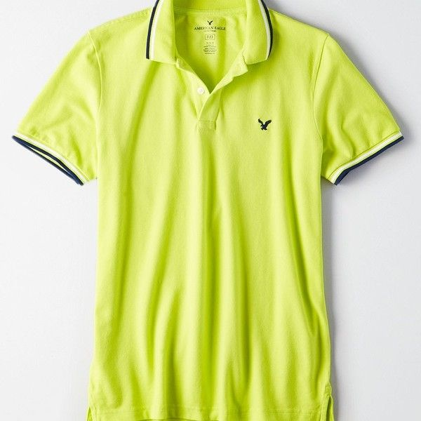AE Flex Solid Polo ($30) ❤ liked on Polyvore featuring men's fashion, men's clothing, men's shirts, men's polos, yellow, mens yellow polo shirt, mens embroidered shirts, american eagle men's polo shirts, american eagle mens shirts and mens short sleeve polo shirts
