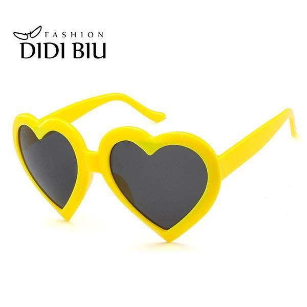 #SUNGLASSES #NEW DIDI Top Grace Woman Heart Shape Pink Sunglasses European American Transparent Goggle Plastic Frame Christmas Gift…