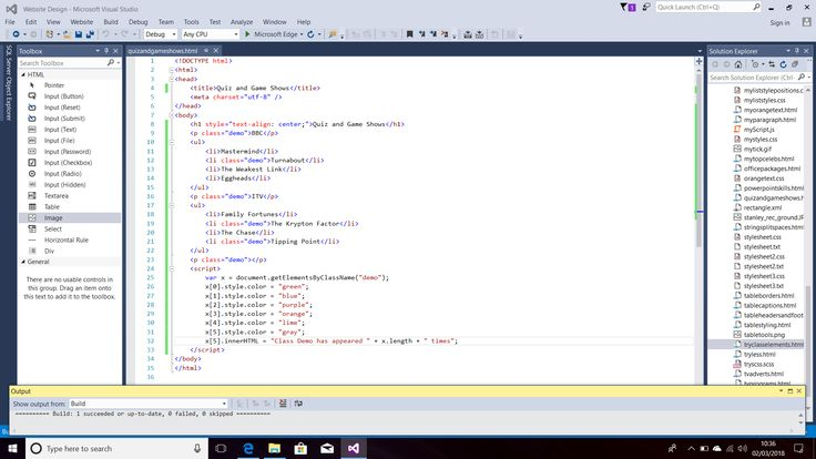 Screenshot of Internal JavaScript Code for Elements by Class Name.  Styles (e.g. Colors) Applied to All Elements by Class Name.  InnerHTML Applied to the Last Element by Class Name.  HTML Code for Paragraphs and List Items.  Text Editor - Visual Studio 2015.  Taken on 2 March 2018.