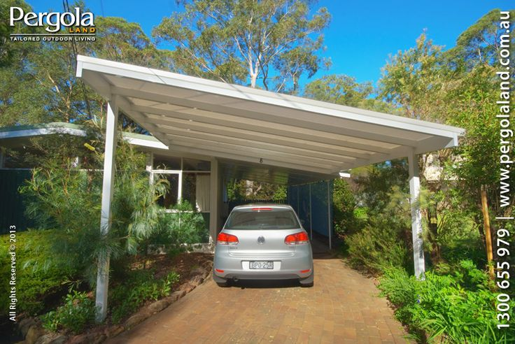 Slanted Attached Roof Carports Aluminium Frame Carports