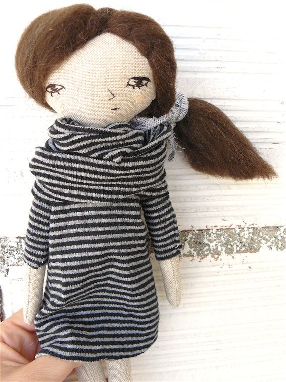 Little rag doll with pure wool hair 27 cm by AntonAntonThings