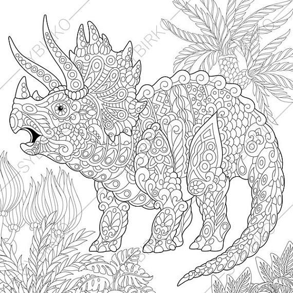 Coloring Pages For Adults Triceratops Dinosaur Dino Etsy In 2021 Dinosaur Coloring Pages Animal Coloring Books Dinosaur Coloring