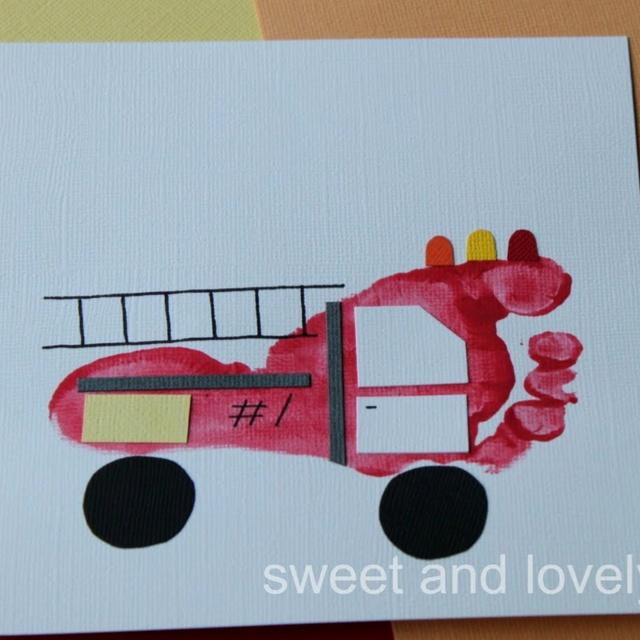 Fire Truck!Footprints Art, Ideas, Fire Safety, Foot Prints, Fire Trucks, Kids Crafts, Firetruck, Footprints Fire, Community Helpers