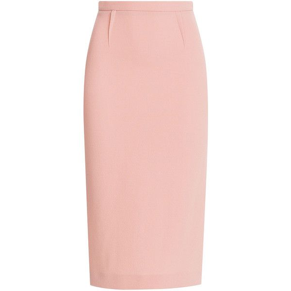 Roland Mouret Wool-Crepe Pencil Skirt ($475) ❤ liked on Polyvore featuring skirts, bottoms, rose, pink high waisted skirt, midi skirt, mid calf skirt, high waisted pencil skirt and wool midi skirt