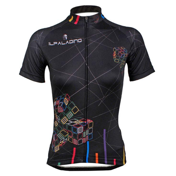 """Women Cycling Jersey """"Magic Cube"""" Black Cycling Clothing Women Bike Sportwear Bicycle Short Sleeve Cycling Jersey"""