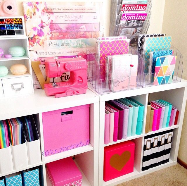 Cute & Colorful Office Storage. #craft_room #organization