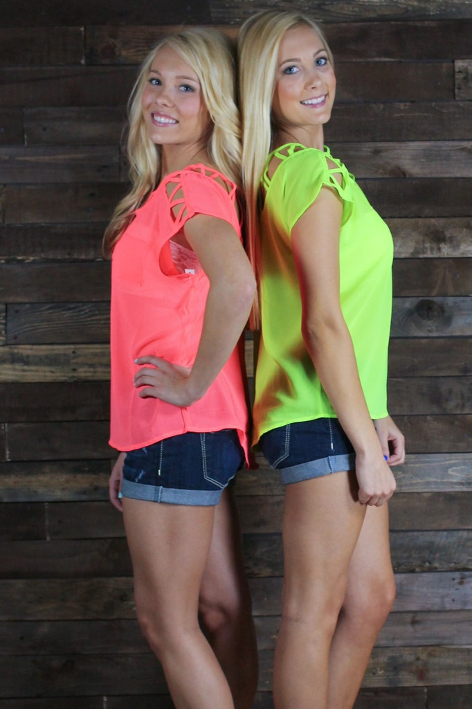 Cute shirts! I think Courtney and I should get neon shirt like this!
