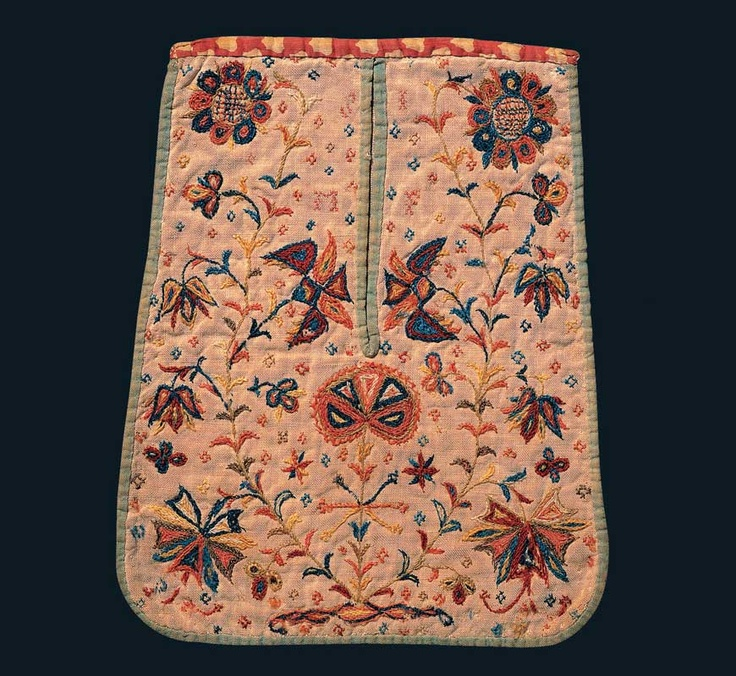 POCKET - Artist unidentified  Pennsylvania  c. 1740–1770  Crewel on linen with cotton and linen binding  10 1/4 x 8 1/4 in.  American Folk Art Museum, promised gift of Ralph Esmerian, P1.2001.290