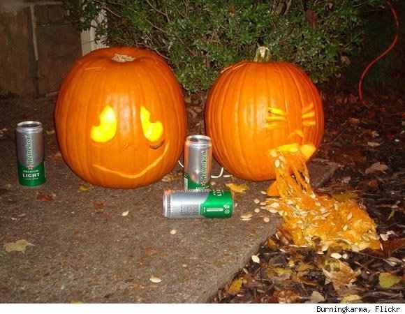 Squinty Pumpkin doesn't even have to look, he can just feel your disappointment. | 28 Pumpkins Who Are Clearly Alcoholics