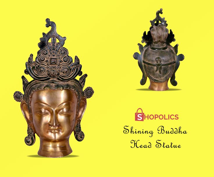 Buy #Shining #Buddha #head #statue from #Shopolics with particulars: #Weight: 3384 g, #Dimensions: 12 inches, #Material: #Metal, Color: #Metallic #brown Shop now:  https://goo.gl/lqaLA1