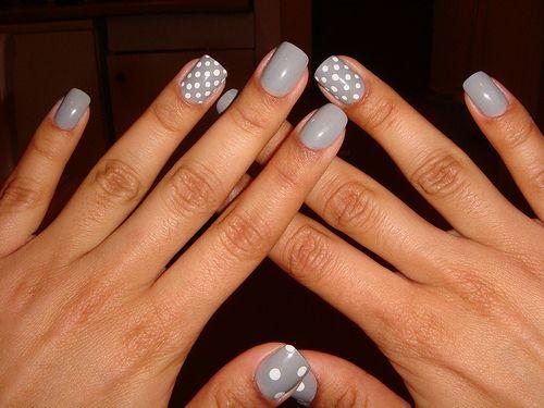 Grey & white polka dots