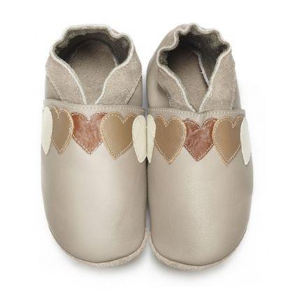 Coeurs Caramel 23-24 - Chaussons en cuir souple Didoodam - disponible du 16 au 45 - Didoodam soft sole slippers - Didoodam leden sloffen