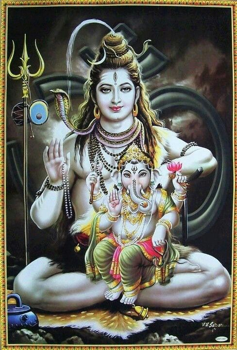 Lord Ganesha in the lap of his father Lord Shiva