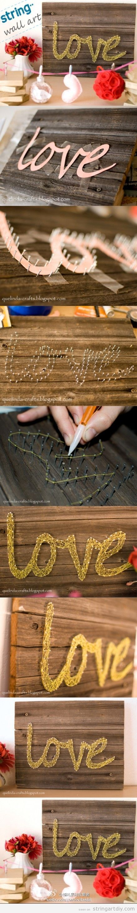 string art diy tutorial love word String Wall Art with the word Love, tutorial