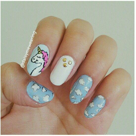 Unicorn Nail Designs , Nail Art , Clouds , Nails, Tumblr