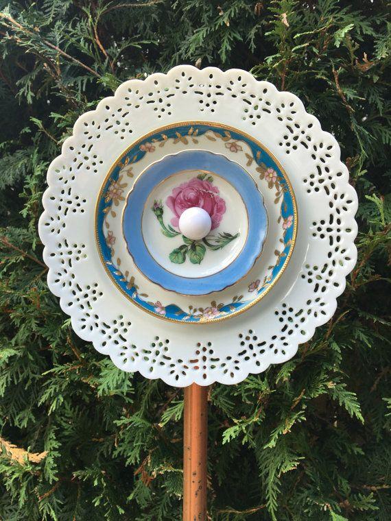 White Blue Recycled Garden Flower Garden Art Ceramic By