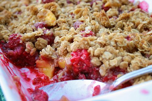 peach and raspberry cobbler - i'm craving cobler lately, might have to make some this weekend.