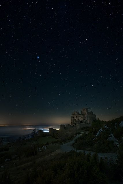 Loarre Castle at night, Spain