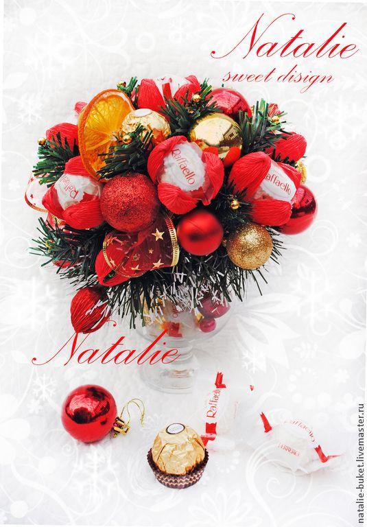 """Купить Букет из конфет """"Новогодний бокал"""" - букет из конфет, всеволожск, натали букет, подарок новогодний"""