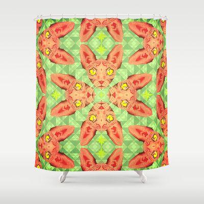 Sphynx Cat Pattern Shower Curtain by chobopop - $68.00