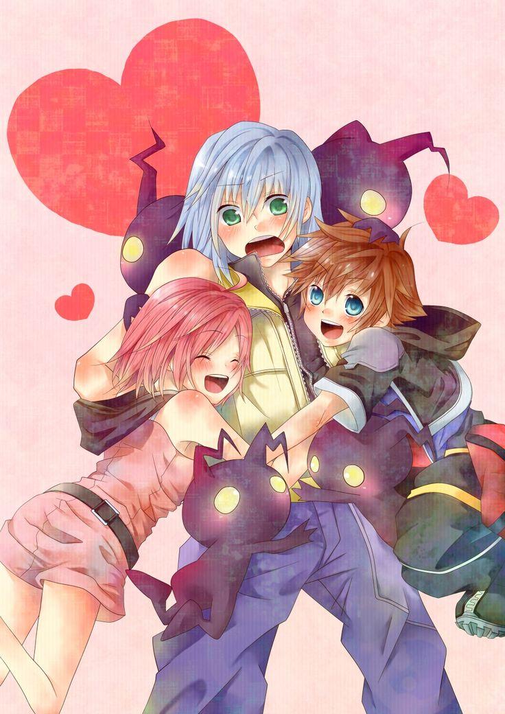 Sora, Riku, Kairi & the Heartless. ADROBS Fan art for kingdom hearts <3