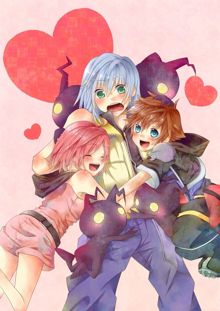 Sora, Riku, Kairi & the Heartless. ADROBS Fan art for kingdom hearts <3