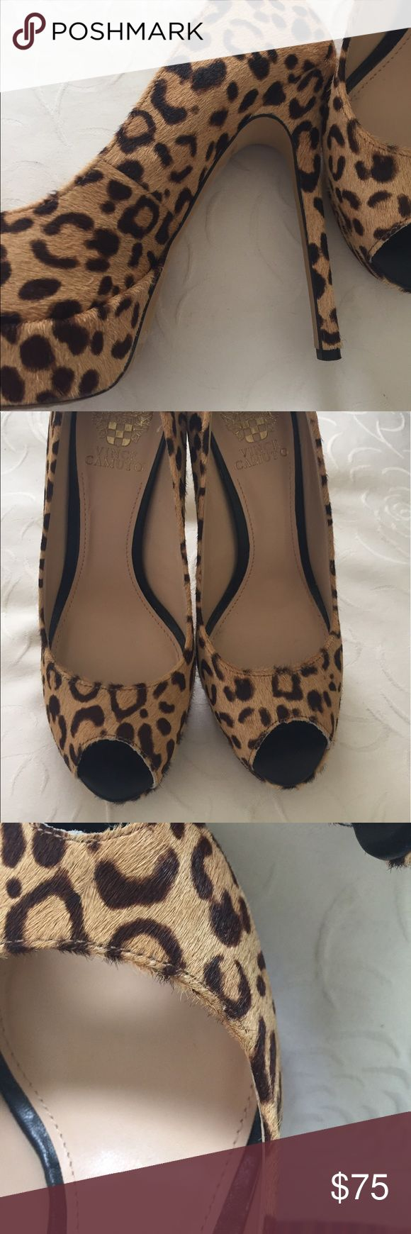 """VC Leopard print cow hair peep toe platform Like new pumps worn once dyed cow hair very nice!  Almost 5"""" heel with 1"""" platform toe. Vince Camuto Shoes Platforms"""