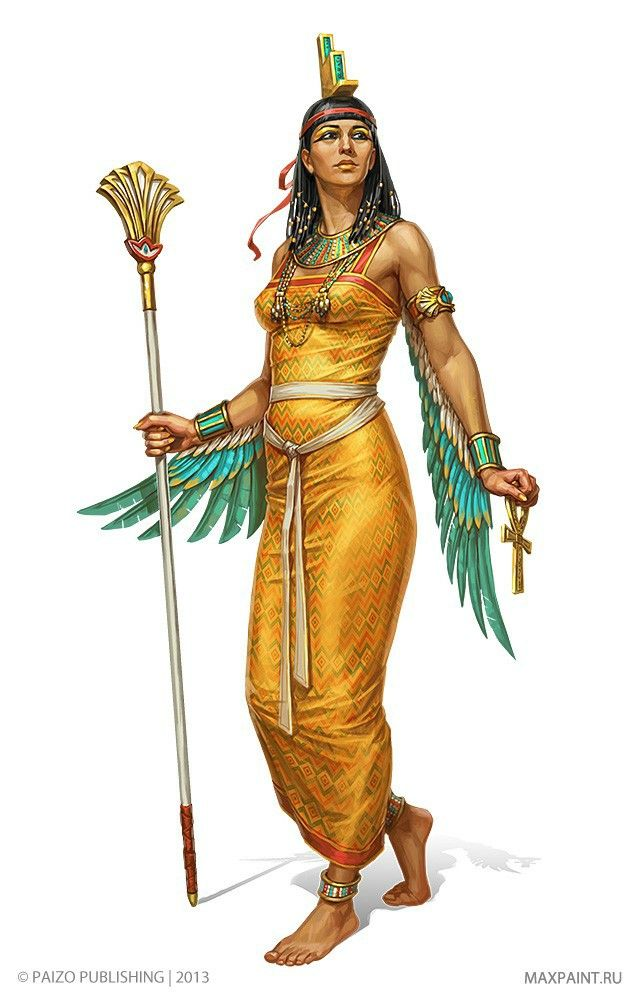 Isis - is a goddess from the polytheistic pantheon of Egypt. She is a goddess of health, marriage, and wisdom. The goddess Isis portrayed as a woman, wearing a headdress shaped like a throne and with an Ankh in her hand