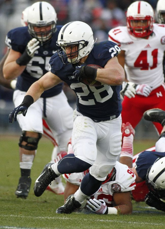 PENN STATE – FOOTBALL 2013 – Zach Zwinak #28 of the Penn State Nittany Lions rushes against the Nebraska Cornhuskers during the game on November 23, 2013 at Beaver Stadium in State College, Pennsylvania. (Photo by Justin K. Aller/Getty Images)