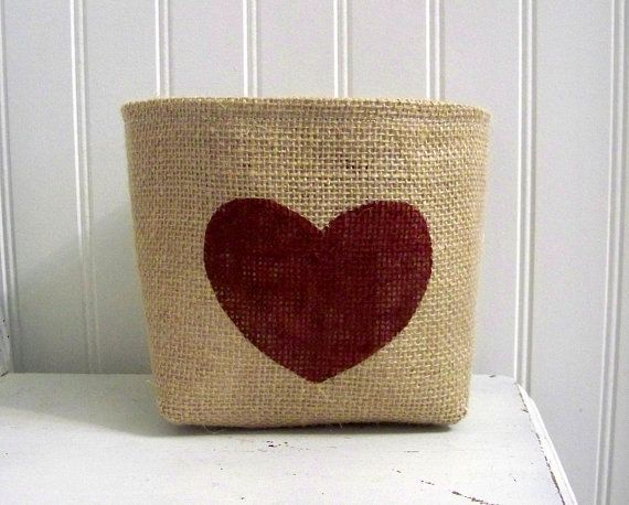 heart valentines day basket / burlap basket / red by jennilyons81