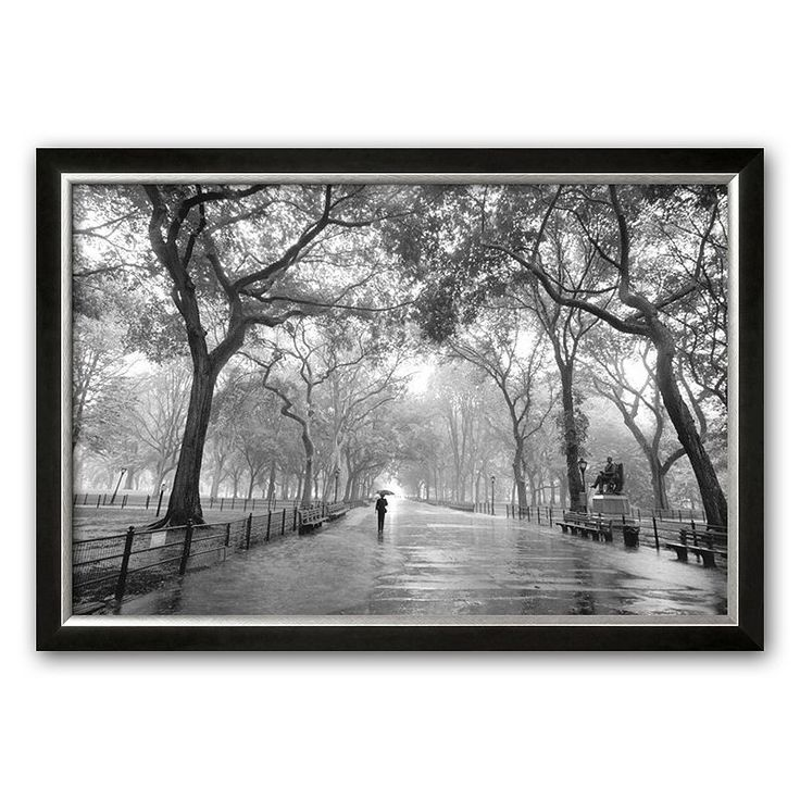 Art.com Poet's Walk, Central Park, New York City Framed Art Print by Henri Silberman, Grey