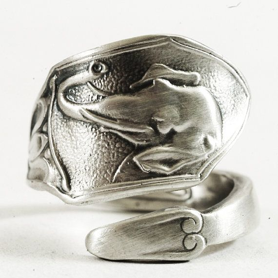 Boho Ring Elephant Head Spoon Ring Sterling Silver by Spoonier