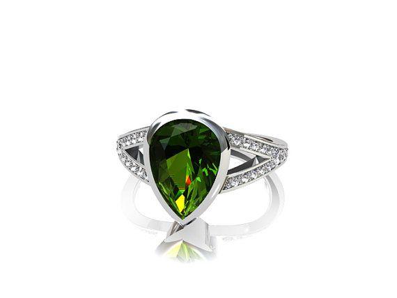 Pear cut peridot engagement ring with diamonds by TorkkeliJewellery, $3945.00