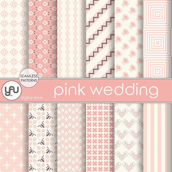 "Wedding digital paper :"" PINK WEDDING "" with pink wedding digital seamless patterns, pink invitation, wedding scrapbook paper, wedding cards #Craft #Supplies #Scrapbooking  #Paper #wedding #digital #scrapbook #pink #ivory #seamless #pattern #invitation #geometric #background"