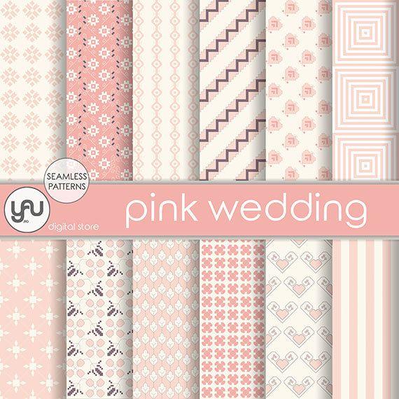 "Wedding digital paper :"" PINK WEDDING "" with pink wedding digital seamless patterns, pink invitation, wedding scrapbook paper, wedding cards #Craft #Supplies #Scrapbooking  #Paper #wedding #digital #scrapbook #pink #ivory #seamless #pattern #invitation #geometric #background"