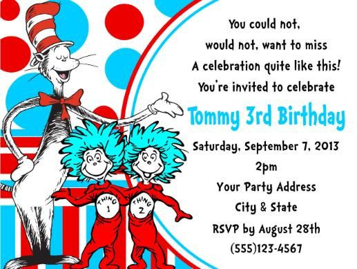 139 best cat in the hat party images on pinterest | birthday party, Birthday invitations