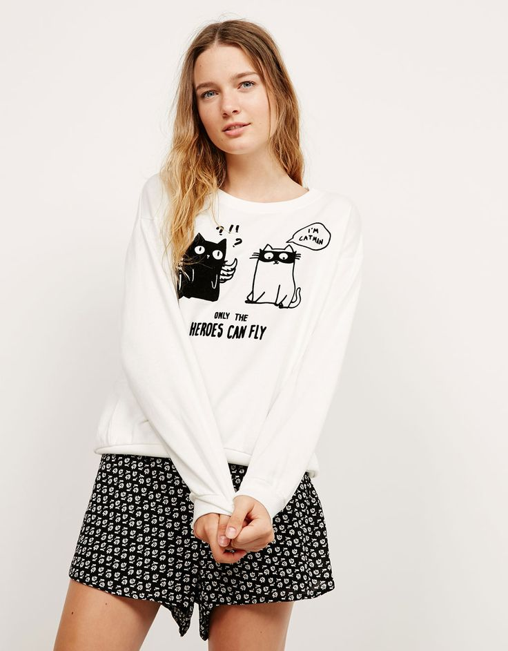 Flocked cats and dogs plush sweatshirt. Discover this and many more items in Bershka with new products every week